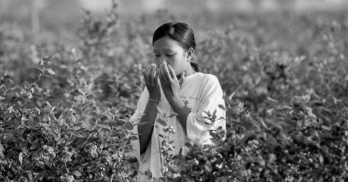 young woman worker in field holding her hands to her face