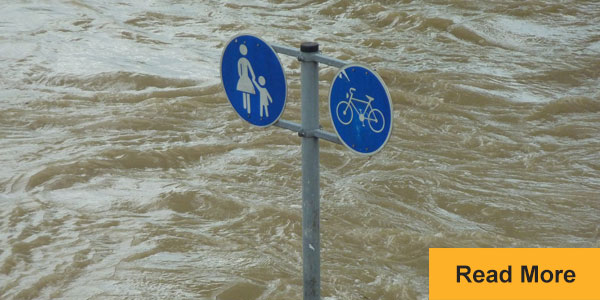 sign flooded under water