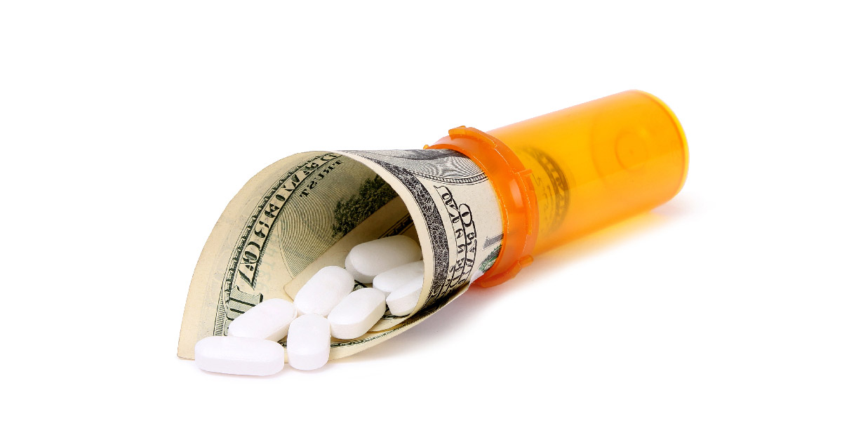 Pill bottle with money pouring out