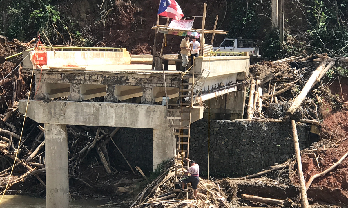 A bridge in Puerto Rico destroyed by Hurricane Maria