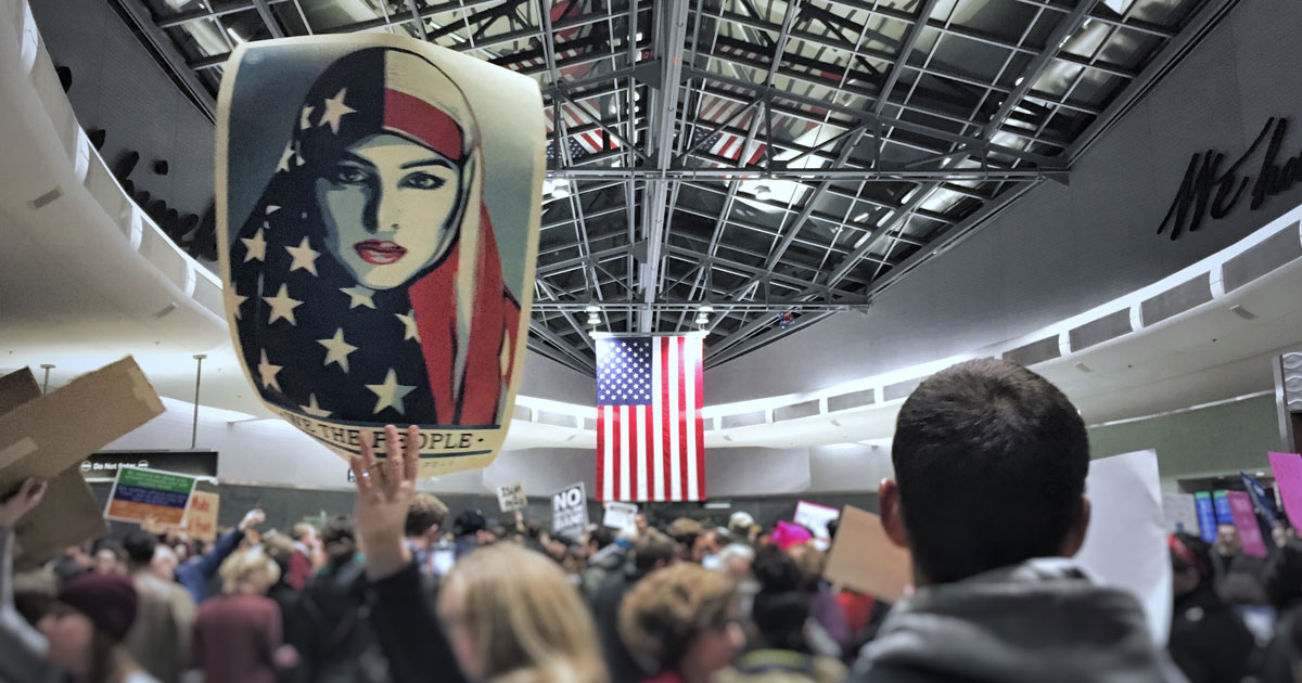 Crowd protests muslim travel ban at Philadelphia's international airport