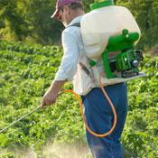 Farmworker applying pesticides