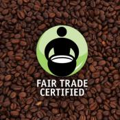 coffee beans with fair trade usa logo