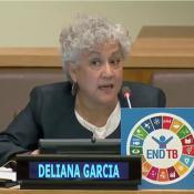 Deliana Garcia speaking on UN End TB panel