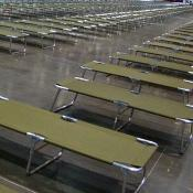 Hundreds of cots