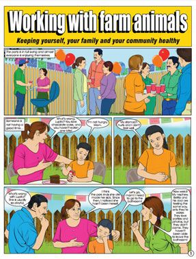 MCN Comic: Working with farm animals: Keeping Yourself, Your Family, and Your Community Healthy