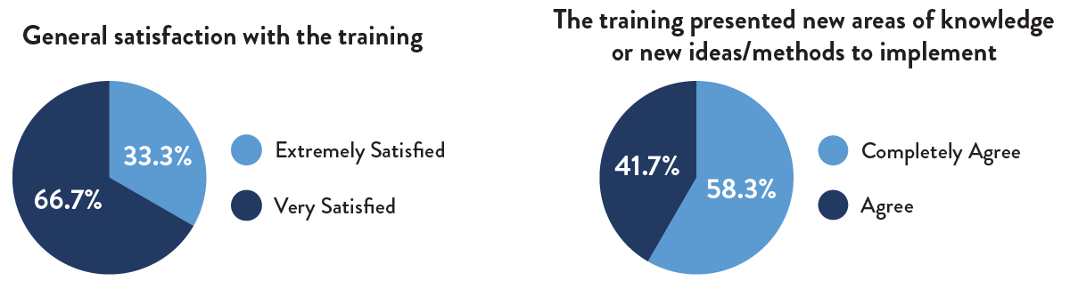Satisfaction with training/areas of knowledge pie charts