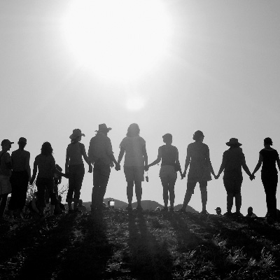 People standing together on hillside