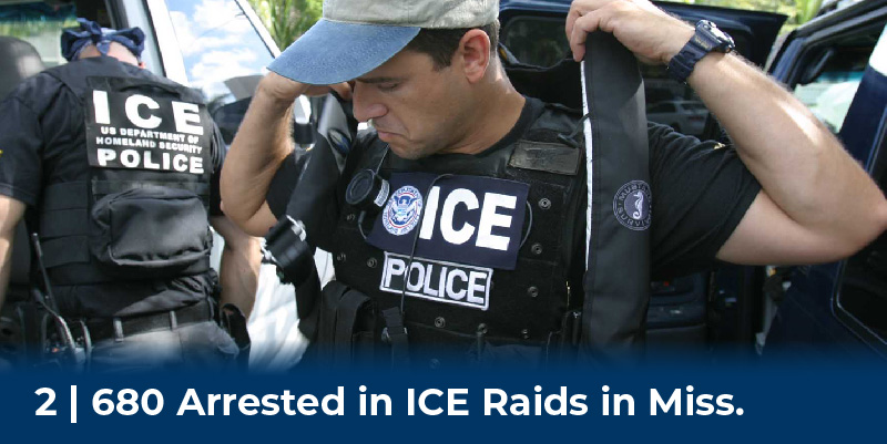 ICE agents put on equipment