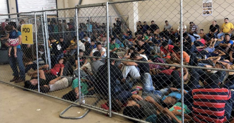 Asylum seekers in an overcrowded detention center