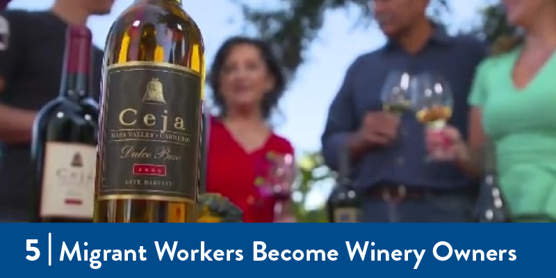 A photo of people enjoying a bottle of wine from the migrant worker owned winery