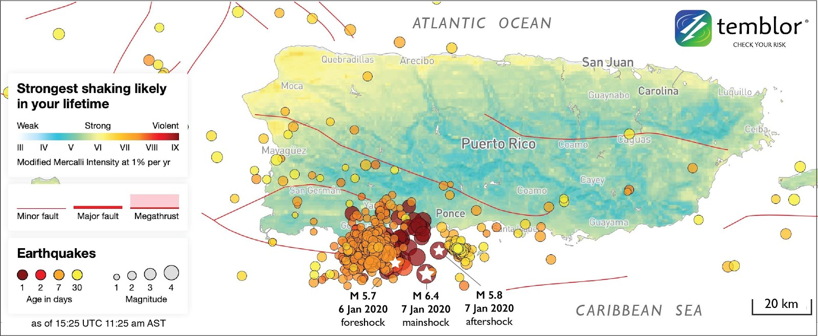 Thematic map of current seismic activity in Puerto Rico