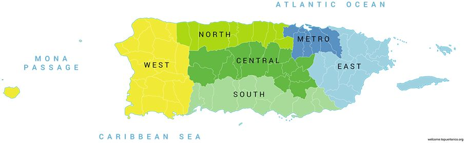 Map of Puerto Rico showing different regions