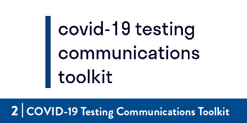 Covid-19 testing communication toolkit title screen