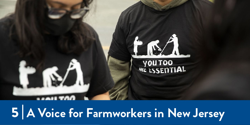 Organizers wearing shirts supporting farmworkers