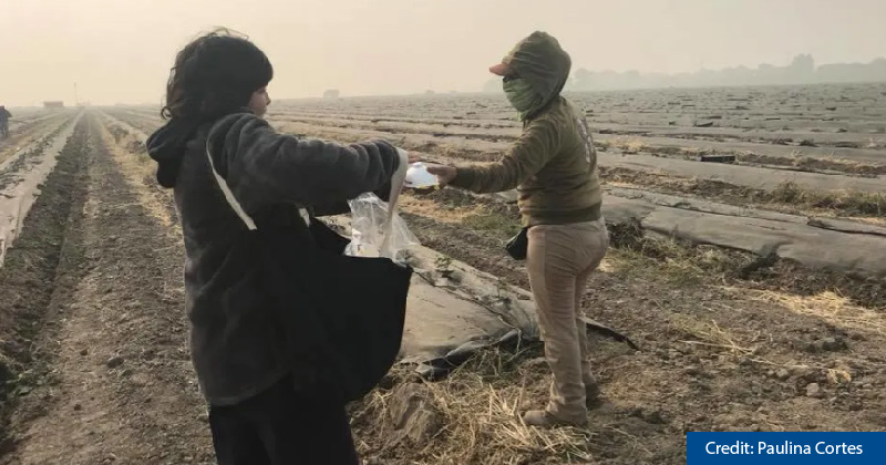 Paulina Cortes, a community activist from San Jose, gives a protective particulate mask to a farmworker in Stockton, California, on November 16th, 2018.