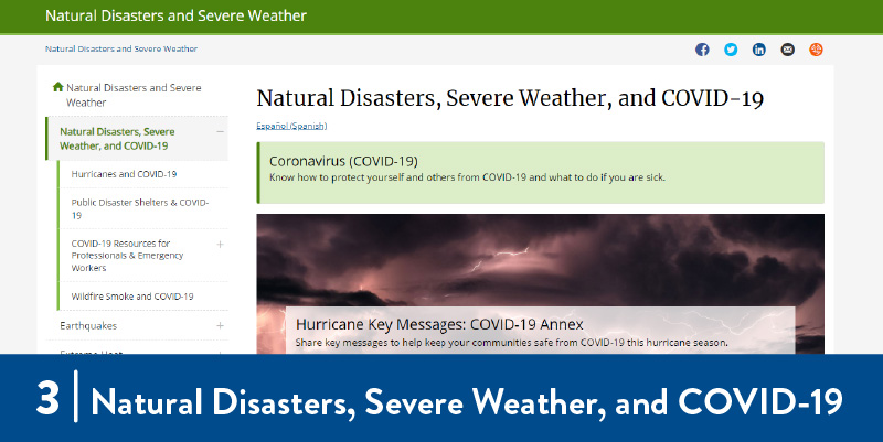 CDC Natural Disasters webpage