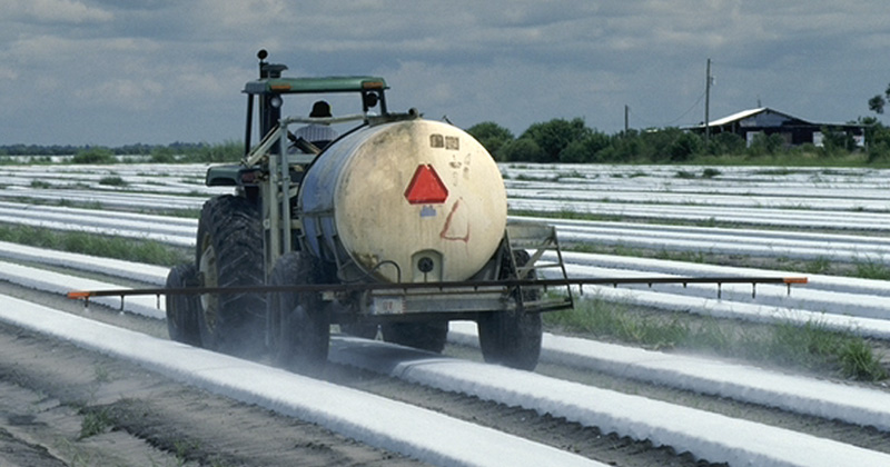 Farmworker sprays pesticide