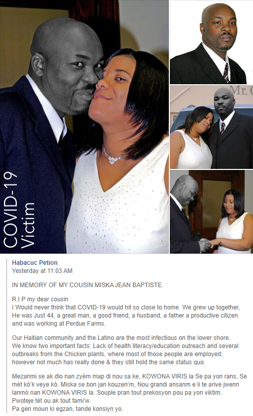 A facebook post by Habacuc Petition on the COVID-19 related death of his cousin, Post by Habacuc Petition on the COVID-19 related death of his cousin, Miska Jean Baptiste