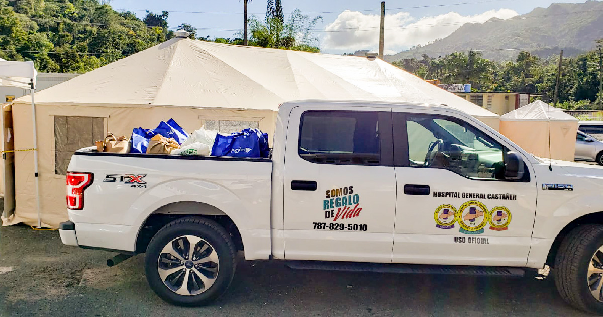 A truck loaded with supplies donated for those impacted by the earthquakes