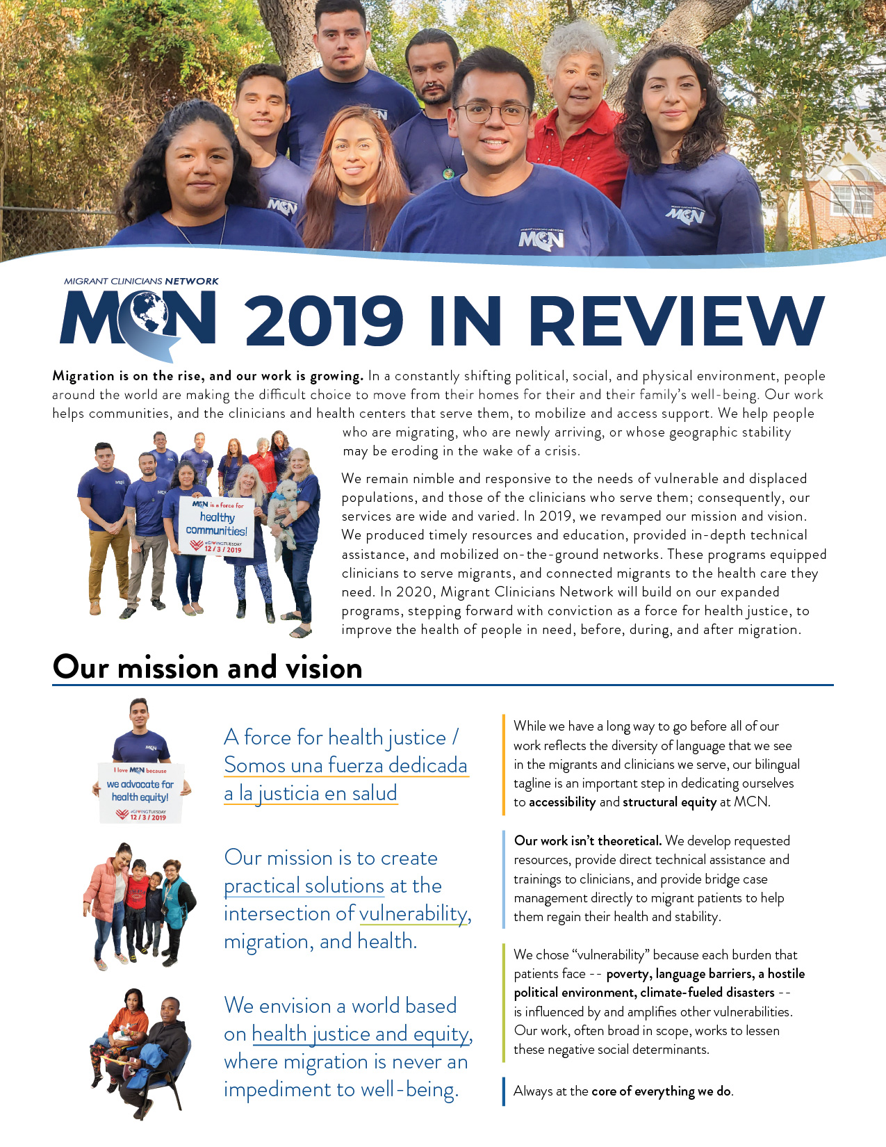 Our Mission and Vision page of the Year in Review