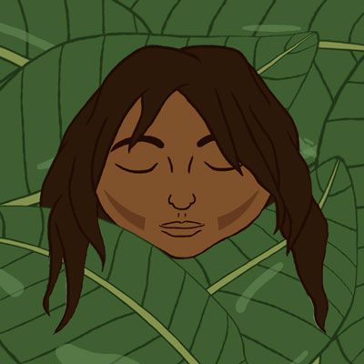 Child's face over bed of leaves - Illustration by Jessica Johnson