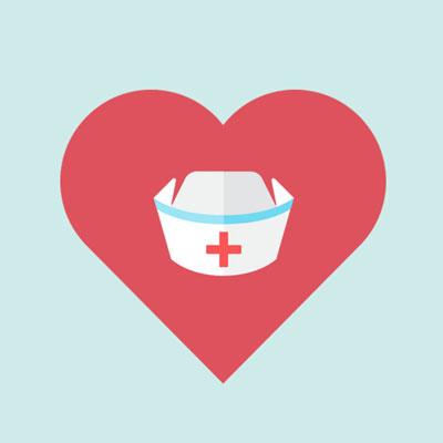 emergency nurses week - heart around nurses hat
