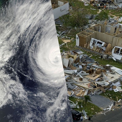 hurricane and destroyed homes