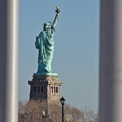 Statue of Liberty behind bars