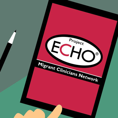 tablet with project echo logo