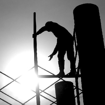 Construction worker in the sun
